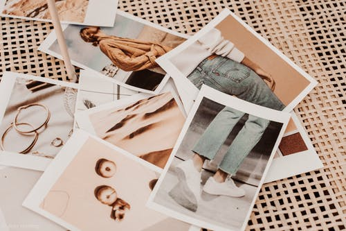 Instant photos placed on table