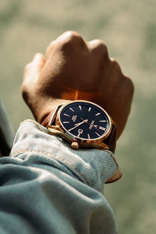 Shallow Focus Photo of Person Wearing Analog Watch