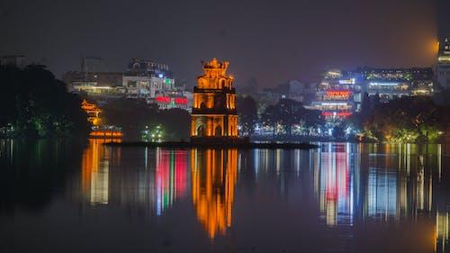 タートルタワー, ハノイ, ベトナム, ホアンキエム湖の無料の写真素材