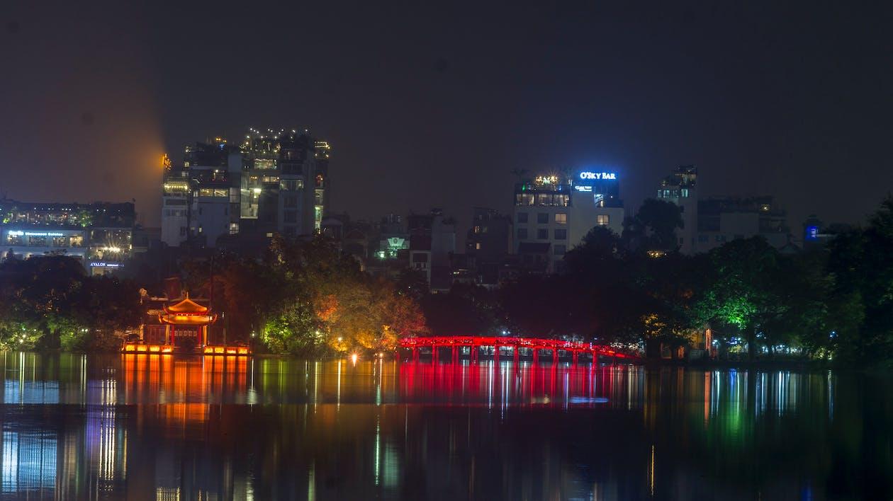 hoankiem lake, the huc bridge, vietnam