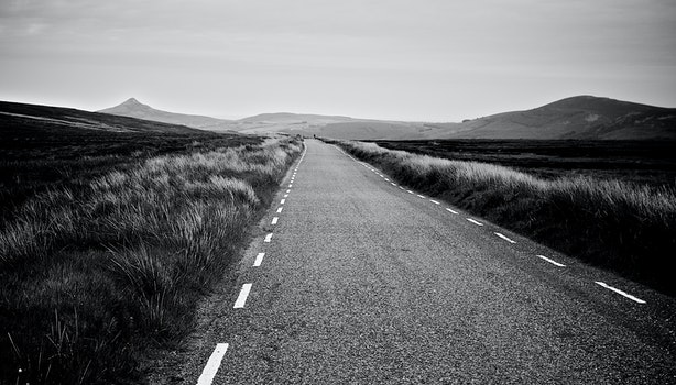 Free stock photo of black-and-white, road, street, straight