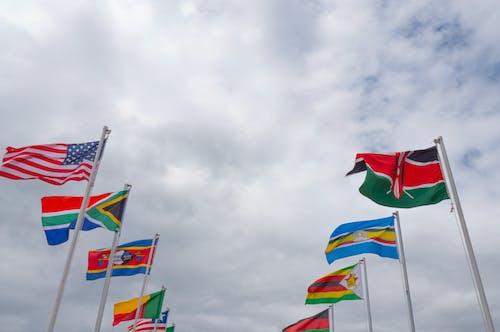 Photos gratuites de drapeau, drapeaux, Drapeaux américains, mâts de drapeau