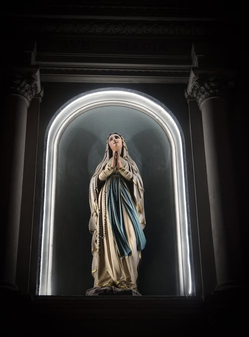 Shallow Focus Photo of Virgin Mary Statue