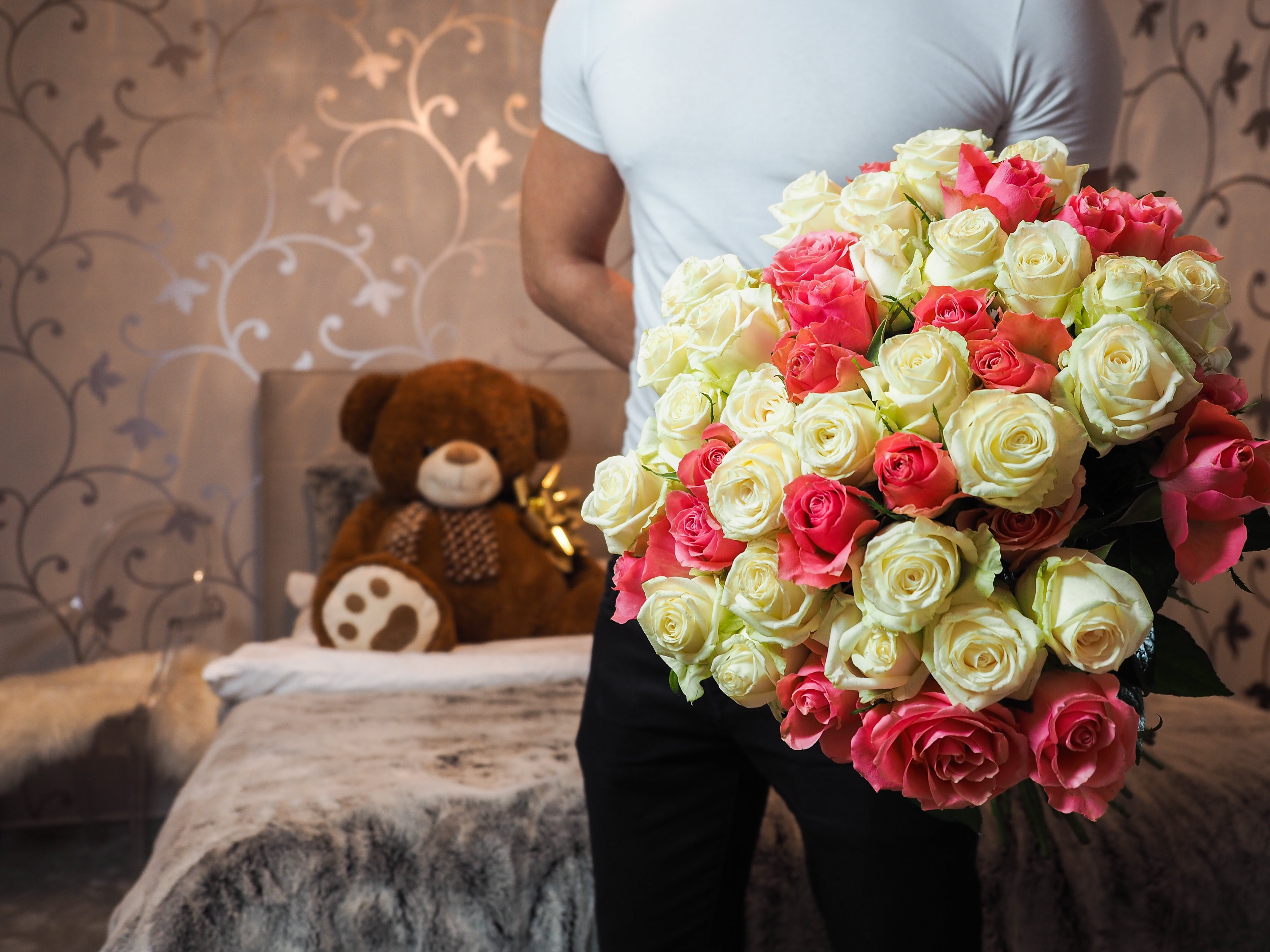 Free stock photo of man, flowers, petals, gift