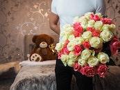 man, flowers, petals