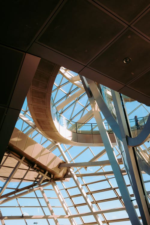 Low Angle Photo of Metal Frame Glass Ceiling