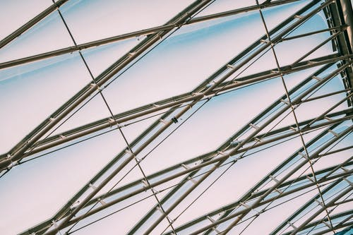 Low Angle Photo of Metal Framed Glass Ceiling