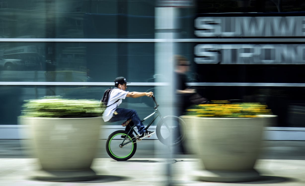 action, bicyclette, brouiller