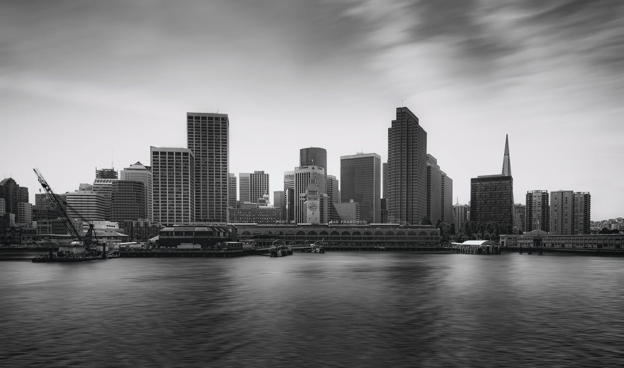 budynki, czarno-biały, drapacz chmur