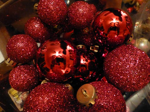 Free stock photo of bauble, christmas, glitter, red