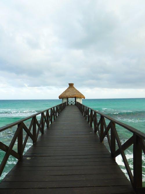Free stock photo of beach, blue sky, clouds, dock