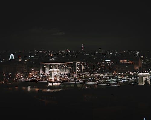 Δωρεάν στοκ φωτογραφιών με Βουδαπέστη, γέφυρα αλυσίδας, Δούναβης, νύχτα της πόλης