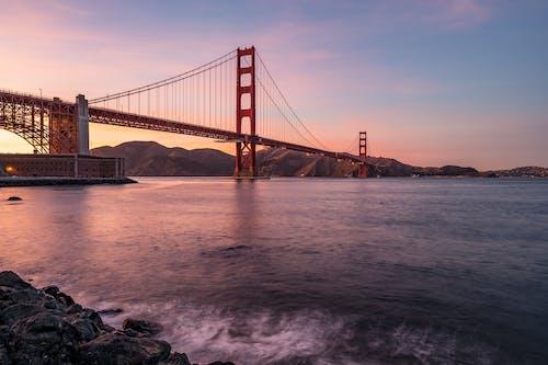 ゴールデンゲートブリッジ, つり橋, ブリッジ, 夕暮れの無料の写真素材
