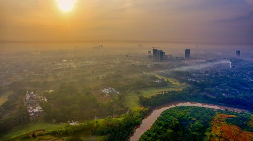 Aerial Photography of City During Golden Hour