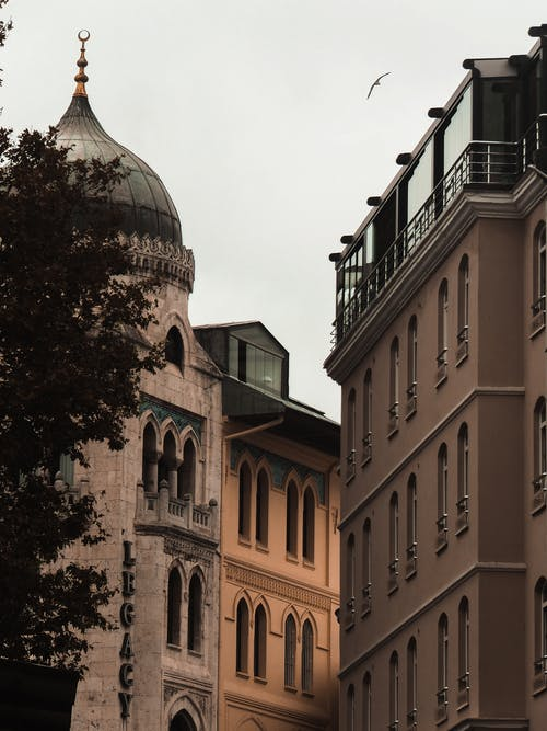 Old buildings near domed tower in city