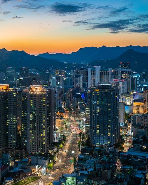 Foto stok gratis cityscape, Korea, kota, matahari terbenam