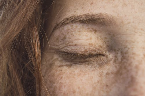 Close-Up Photo of Person's Eyelid
