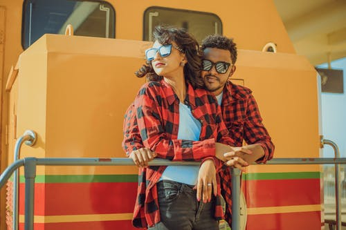 Couple Wearing Checkered Shirts
