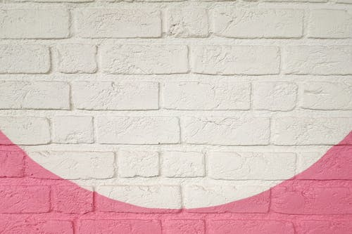 Free stock photo of brick wall, painted, pink, white