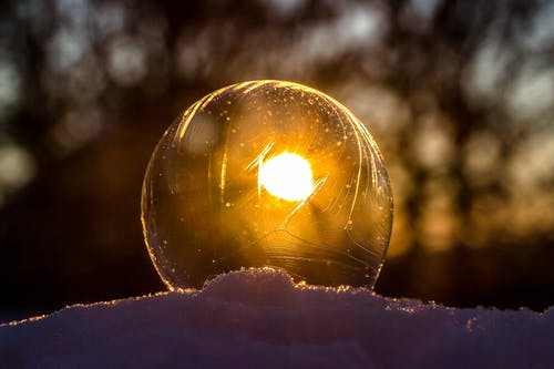 Close-up of Light Bulb during Sunset