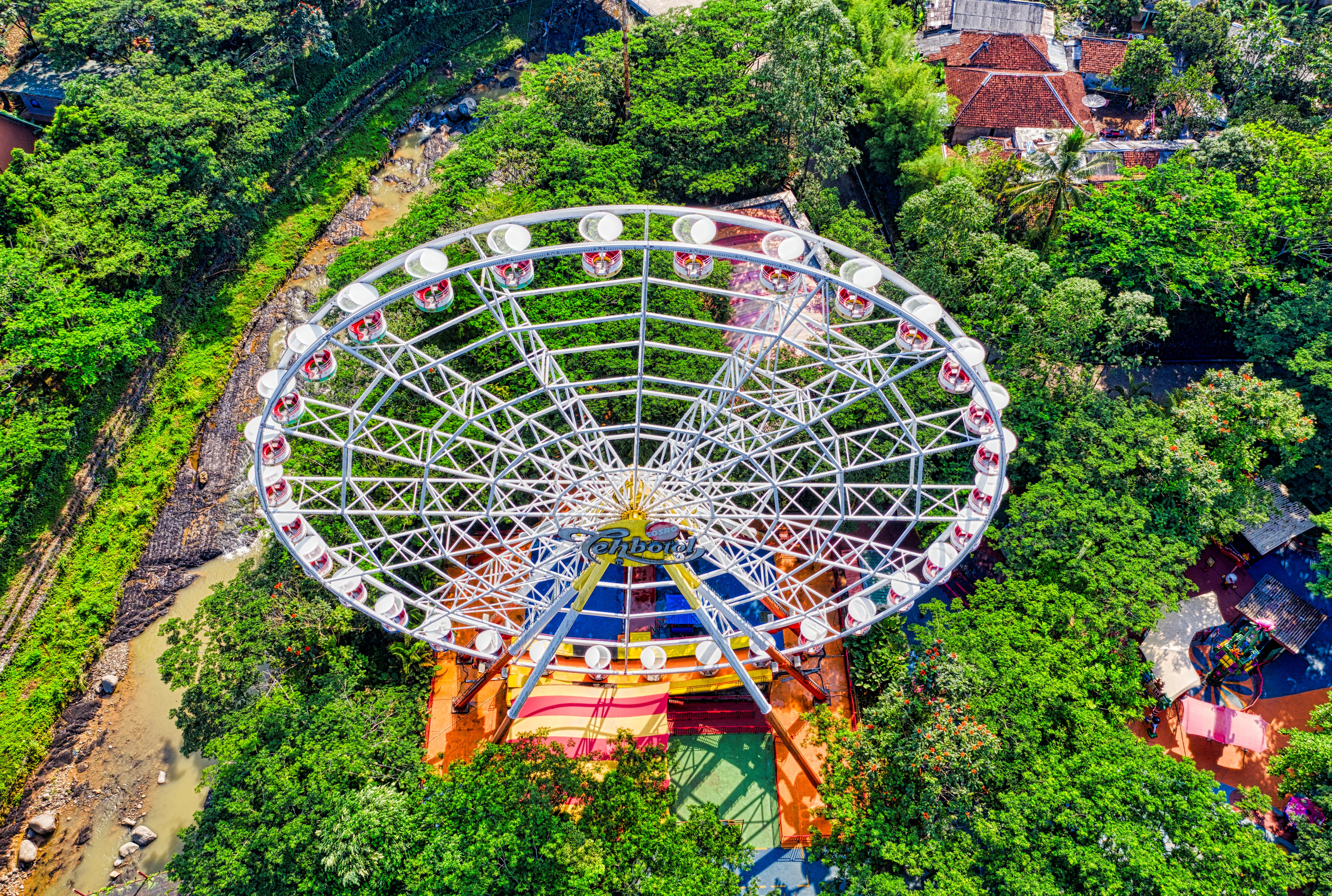 Aerial Photography of White Ferris Wheel
