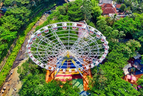 Aerial Photography of White Ferris Wheel