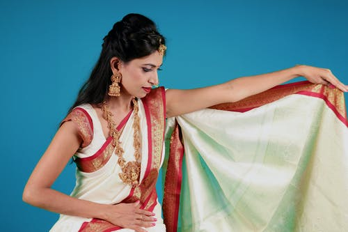 Women's Red and White Sari Dress