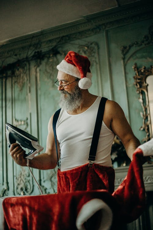 Man Wearing Santa Costume