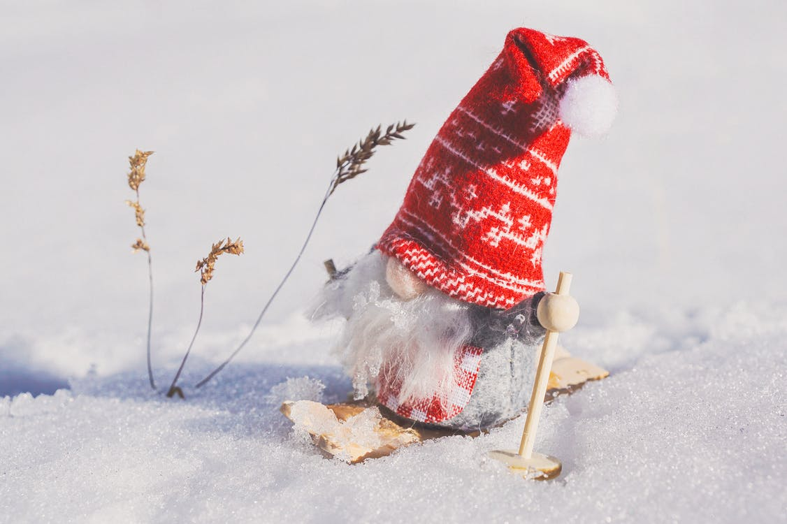 Gnome Figurine on Snow