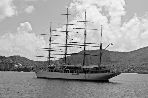 Foto d'estoc gratuïta de blanc i negre, Carib, oceà, veler
