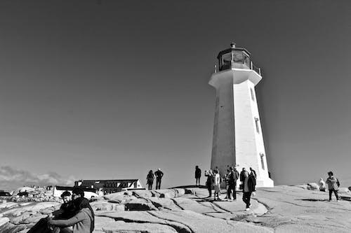 Foto d'estoc gratuïta de atracció turística, blanc i negre, far