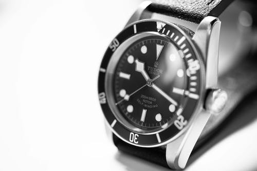 Grayscale Photography of Tudor Analog Watch