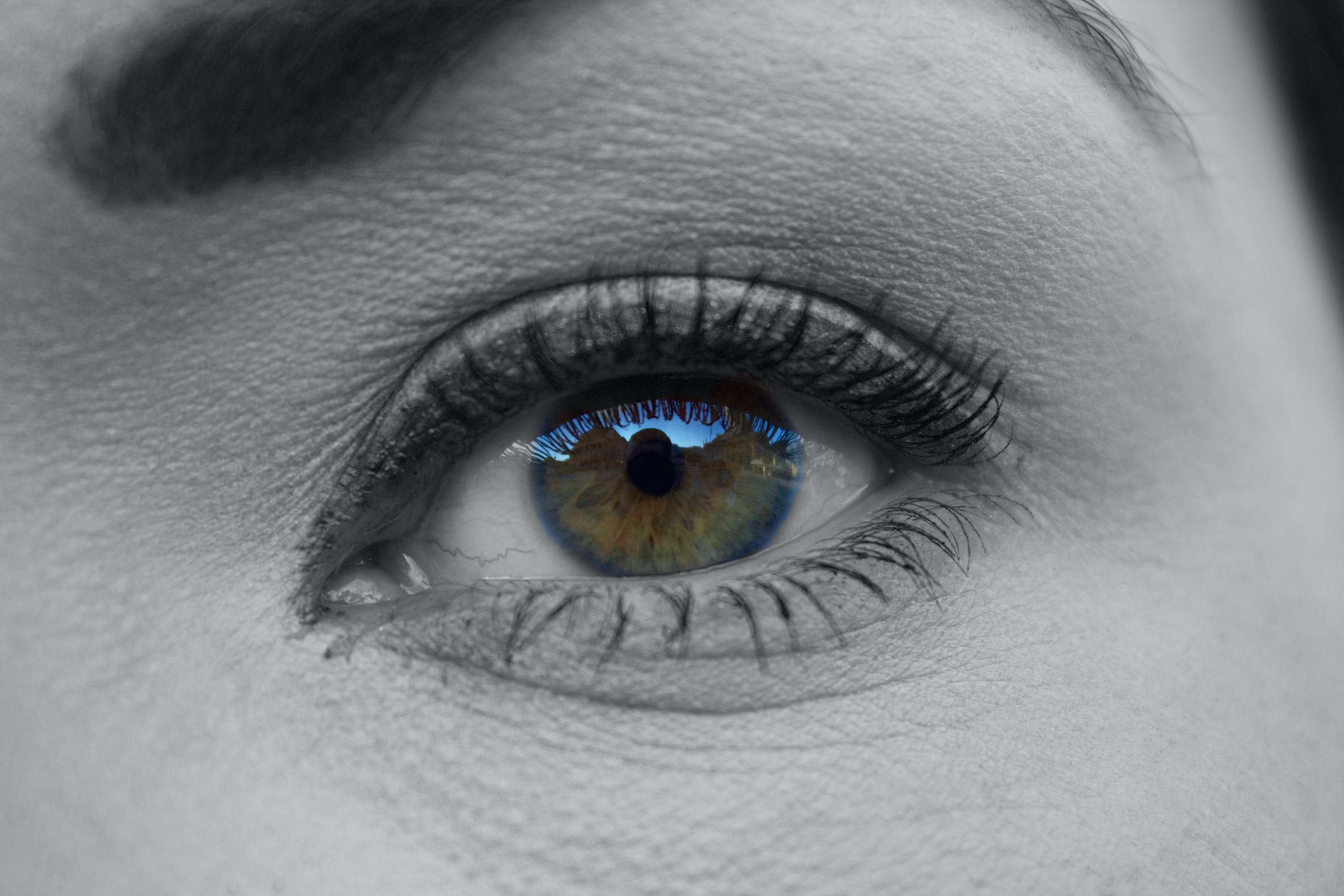 Grayscale Photography of Woman's Eye