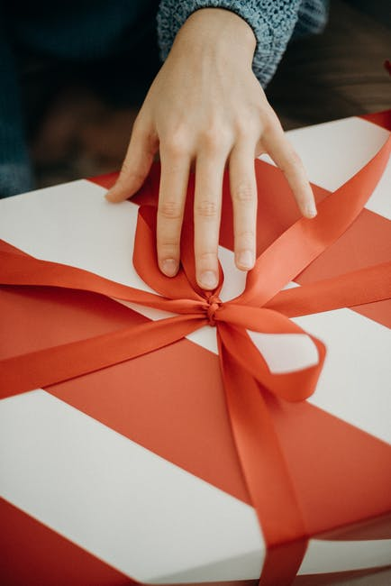 Person touching a gift