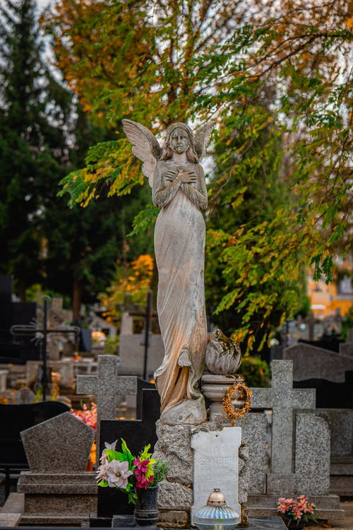 Free stock photo of angel, autumn, autumn leaves, cemetery