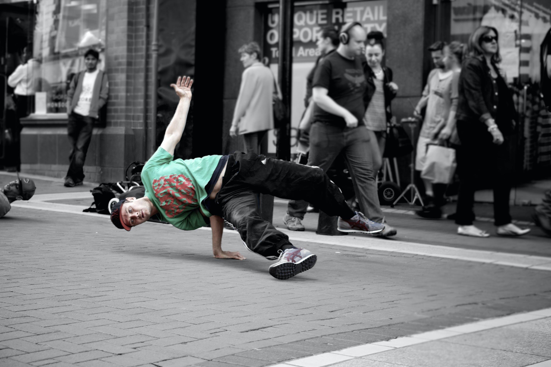 Man Breaking Dance on Road