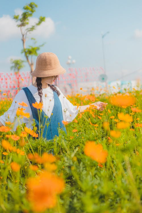 Photo Of Woman On Flower Field
