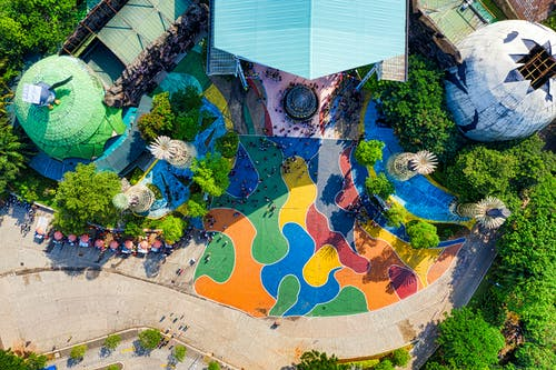Top View of a Colorful Resort