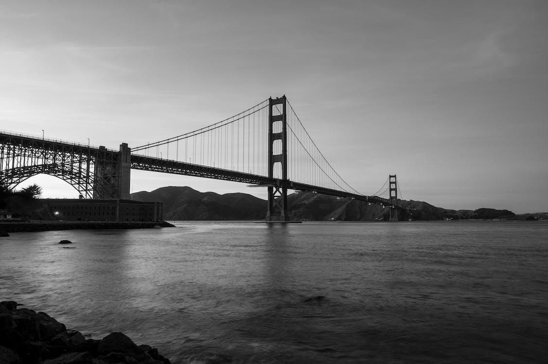 arkitektur, bro, flod