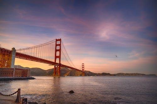 Ilmainen kuvapankkikuva tunnisteilla aamu, arkkitehtuuri, Golden gate -silta, hämärä