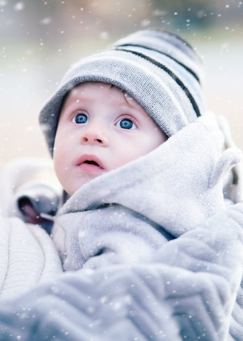 Baby Wearing Gray Beanie