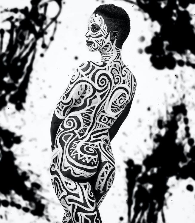 face art, άνθρωπος, ασπρόμαυρο