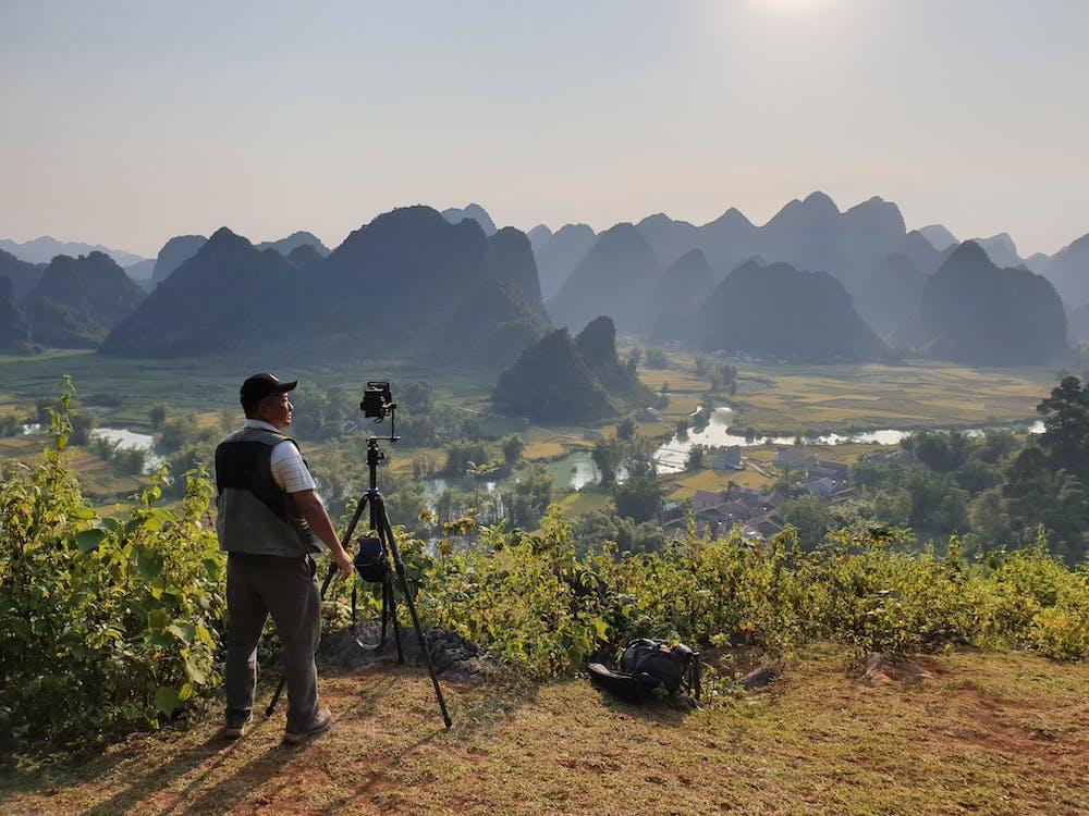 dombok, fényképész, fényképezőgép
