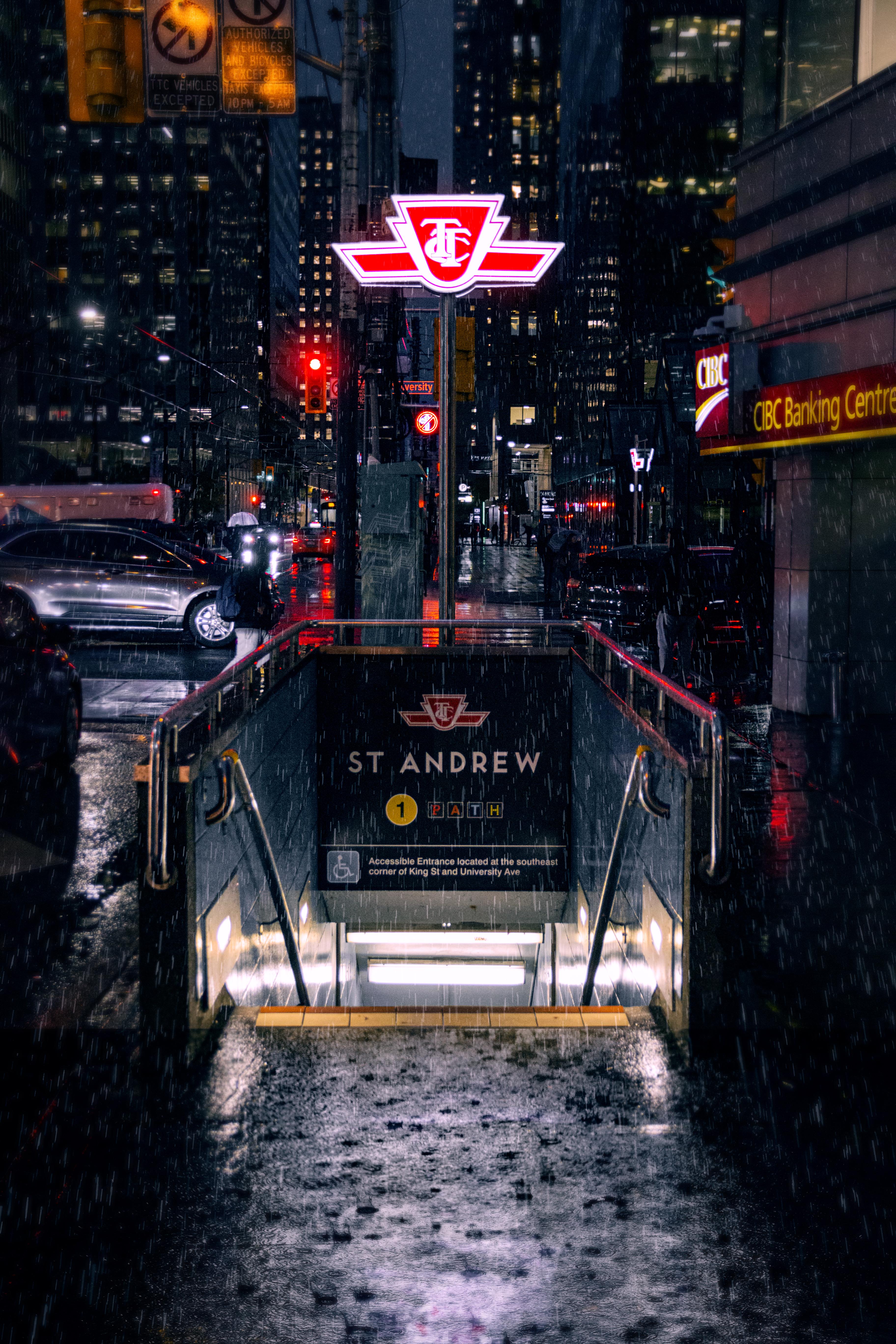 Subway Entrance During Nighttime