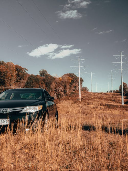 Free stock photo of hills, power lines, toyota