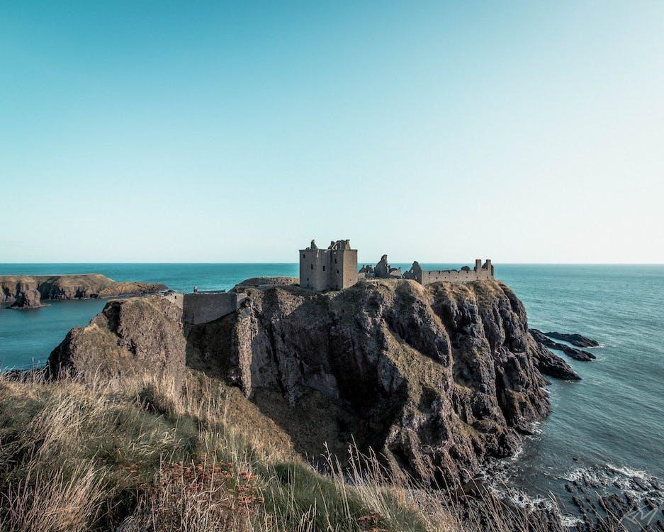 castle, coast, dunottar castle