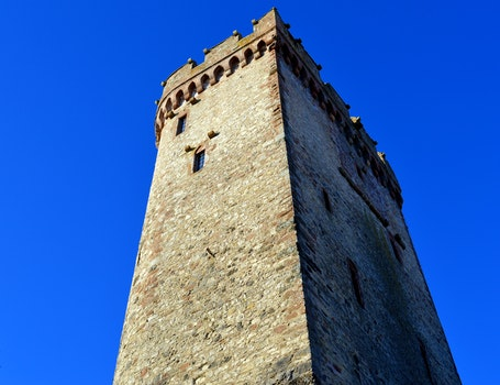 Low Angle View of Tower Against Clear Blue Sky