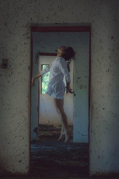 Woman in White Minidress