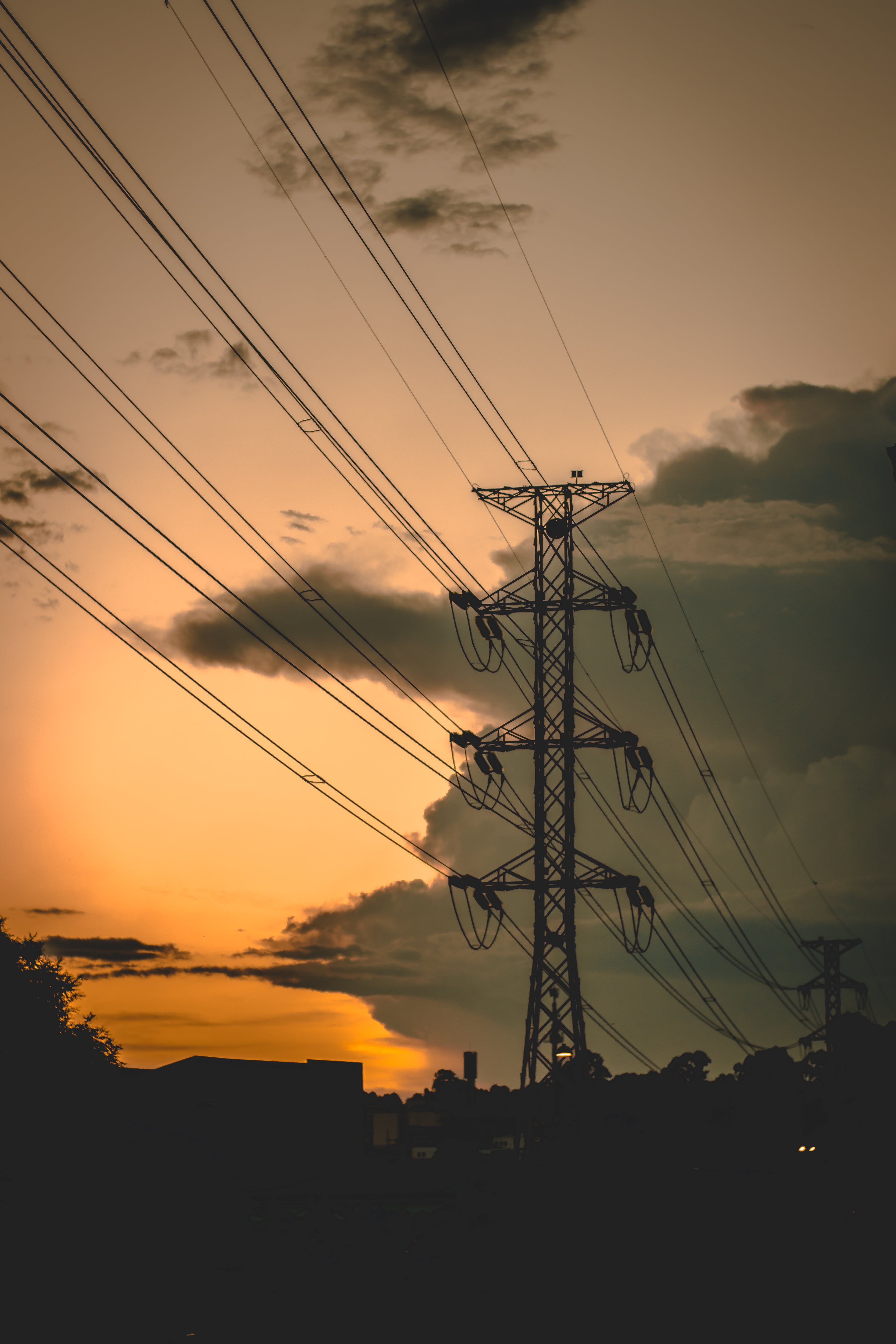 Black Power Line at Sunset