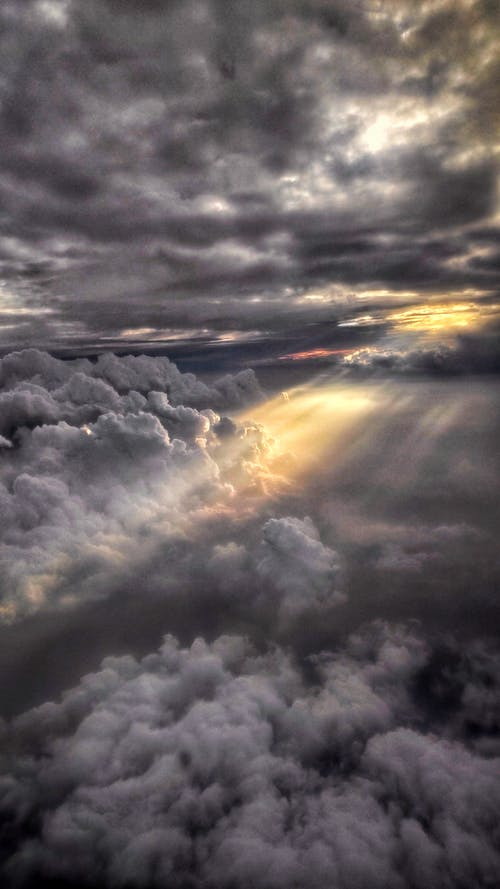 Free stock photo of aeroplane, clouds form, dark clouds